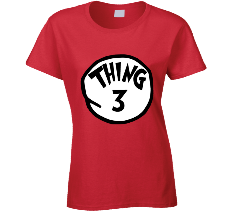 Thing 3 Three Cat In The Hat Seuss Halloween Costume Ladies T Shirt