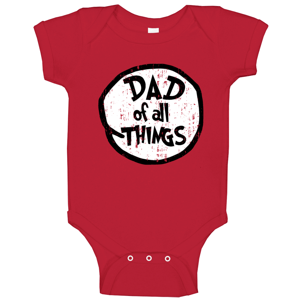 Dad Of All Things Cat In The Hat Seuss Halloween Costume Aged Baby One Piece