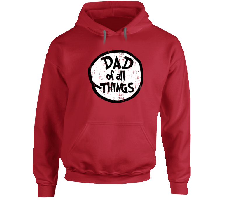 Dad Of All Things Cat In The Hat Seuss Halloween Costume Aged Hoodie