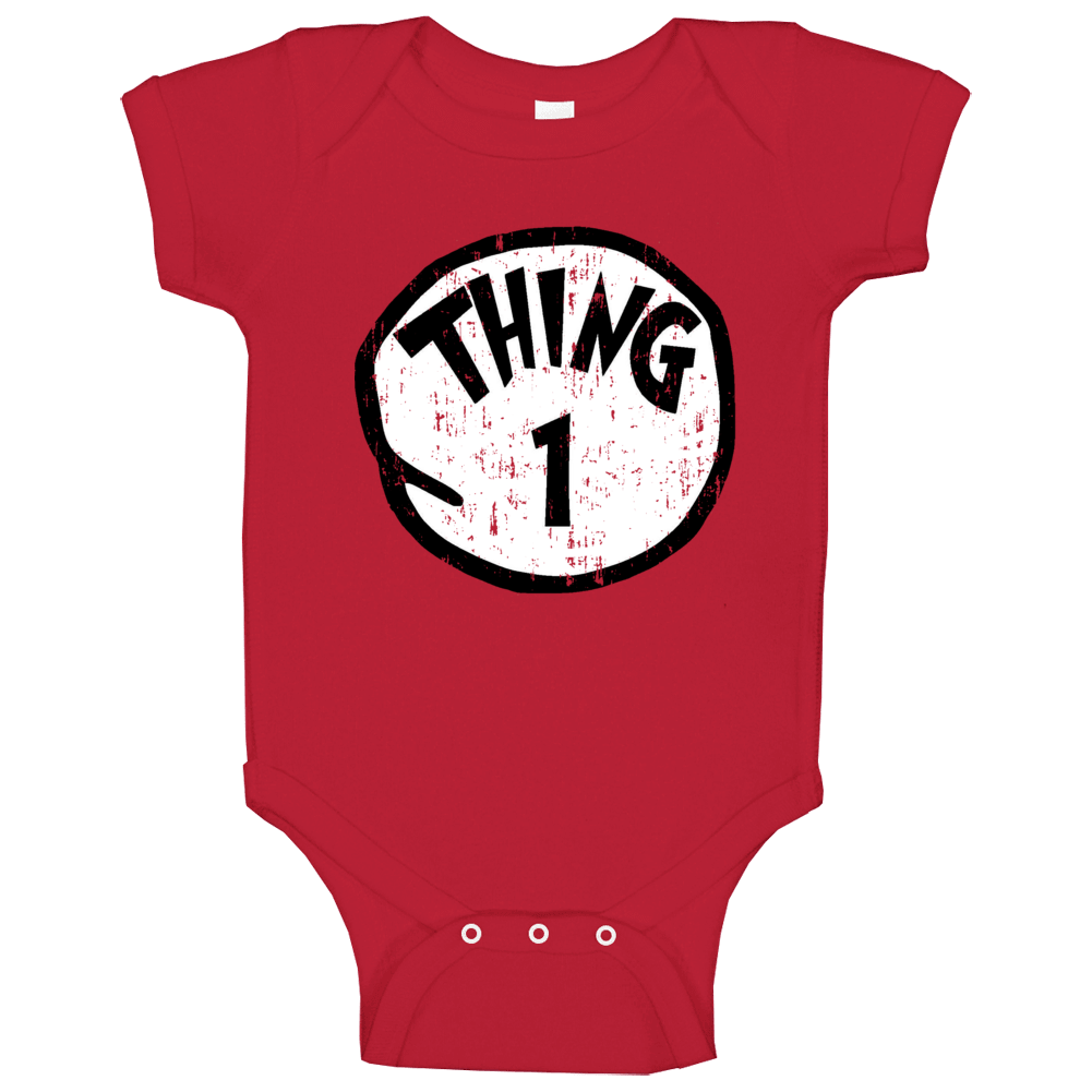 Thing 1 One Cat In The Hat Seuss Halloween Costume Aged Baby One Piece