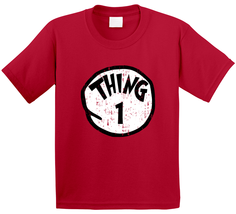 Thing 1 One Cat In The Hat Seuss Halloween Costume Aged T Shirt