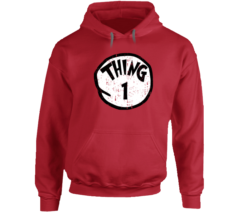 Thing 1 One Cat In The Hat Seuss Halloween Costume Aged Hoodie