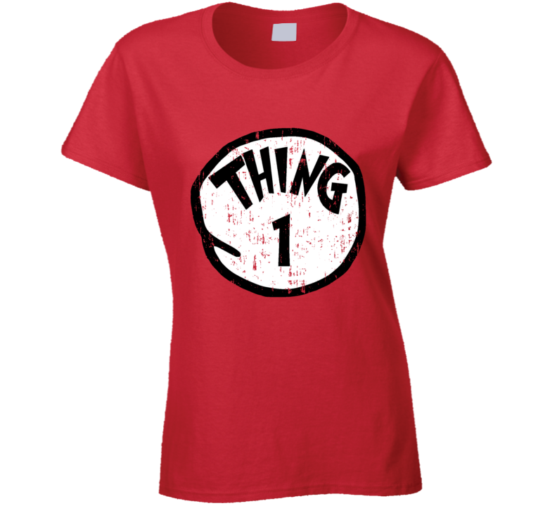 Thing 1 One Cat In The Hat Seuss Halloween Costume Aged Ladies T Shirt