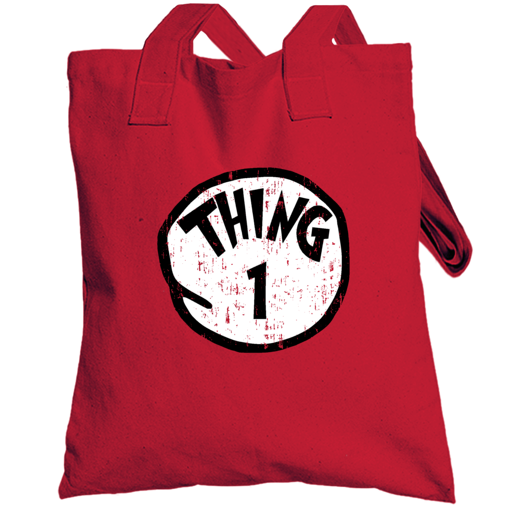 Thing 1 One Cat In The Hat Seuss Halloween Costume Aged Totebag
