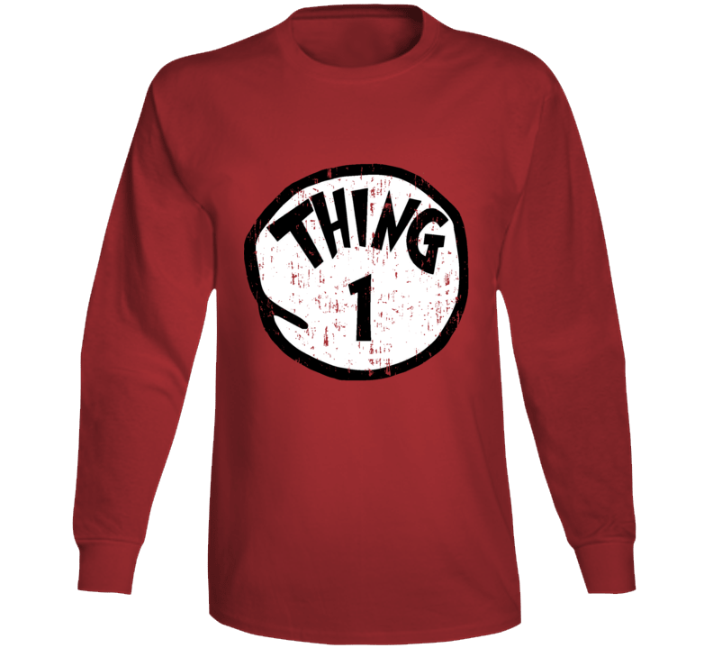 Thing 1 One Cat In The Hat Seuss Halloween Costume Aged Long Sleeve
