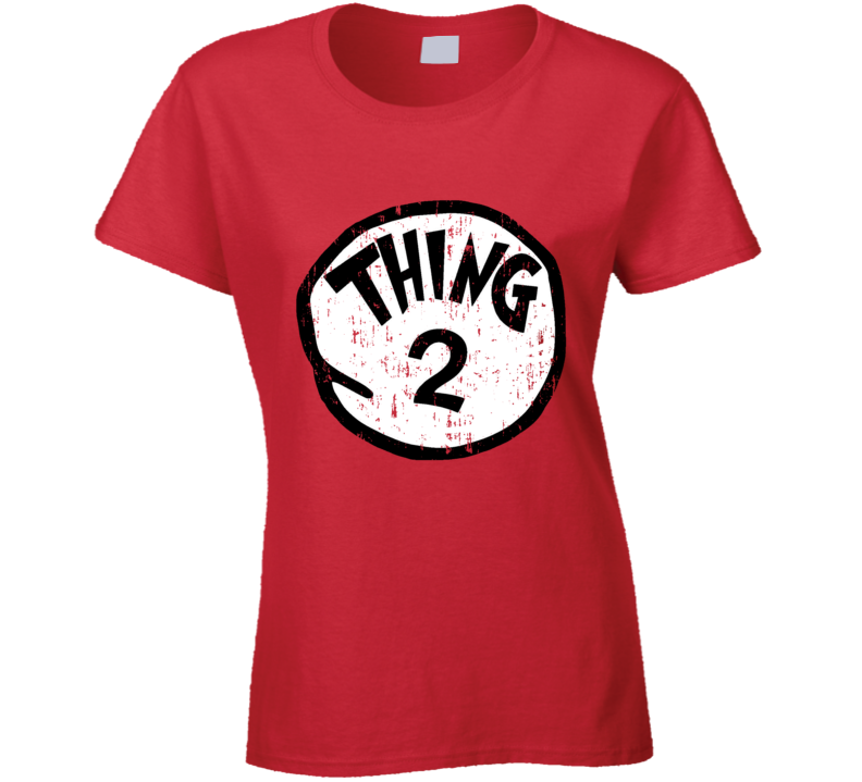 Thing 2 Two Cat In The Hat Seuss Halloween Costume Aged Ladies T Shirt