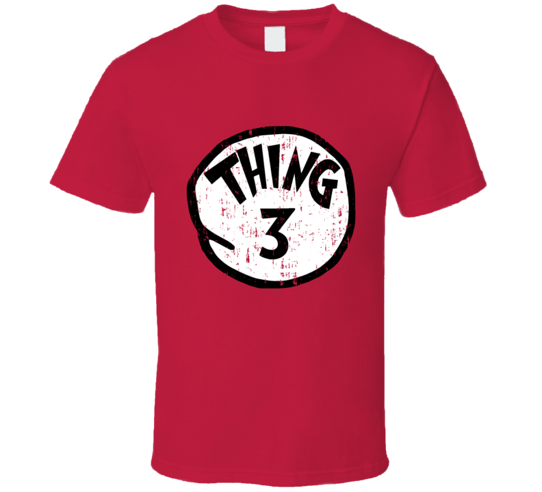 Thing 3 Three Cat In The Hat Seuss Halloween Costume Aged T Shirt