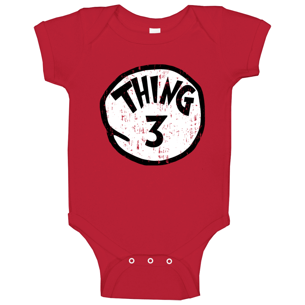 Thing 3 Three Cat In The Hat Seuss Halloween Costume Aged Baby One Piece