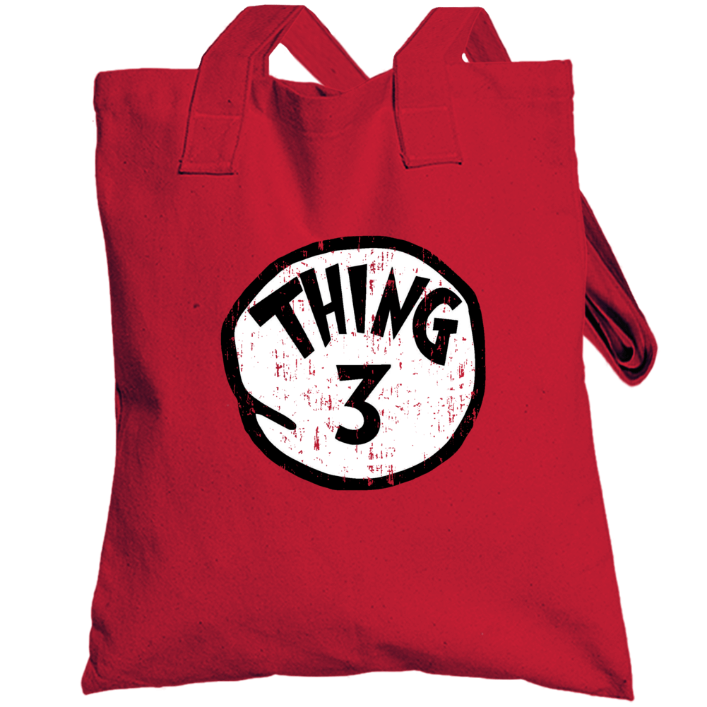 Thing 3 Three Cat In The Hat Seuss Halloween Costume Aged Totebag