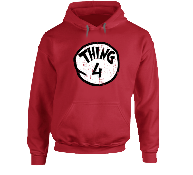 Thing 4 Four Cat In The Hat Seuss Halloween Costume Aged Hoodie