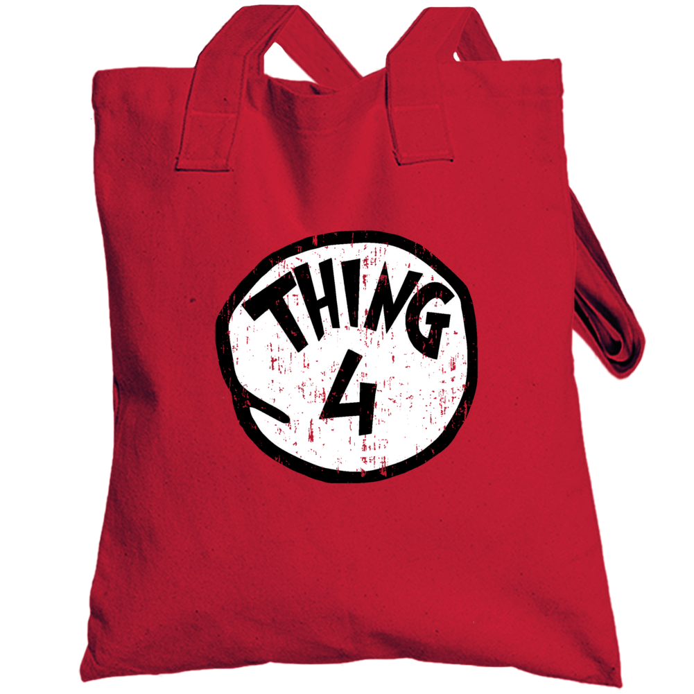 Thing 4 Four Cat In The Hat Seuss Halloween Costume Aged Totebag