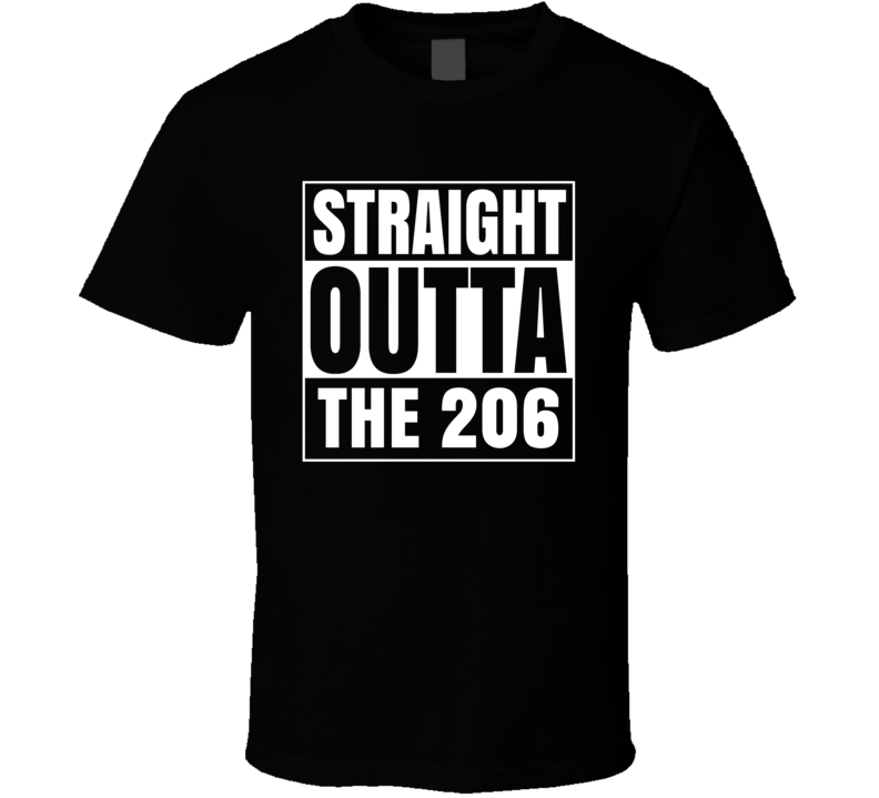 Straight Outta The 206 Washington Area Code NWA Parody T Shirt