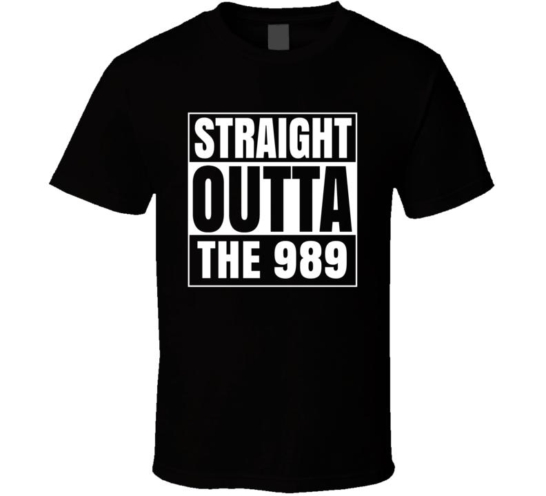 Straight Outta The 989 Michigan Area Code NWA Parody T Shirt