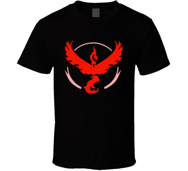 Team Valor Red Tee Pokemon Go Hunter Interactive Game App Funny T Shirt