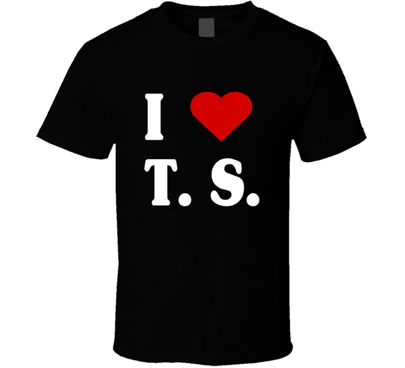 I love T. S. TS Tee Taylor Swift Tom Hiddleston Swifty Celebrity Couple Trendy Heart T Shirt