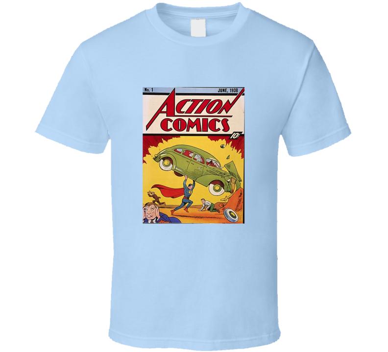 Action Comics 1 Tee Retro Comic Book Cover Comics Fan T Shirt