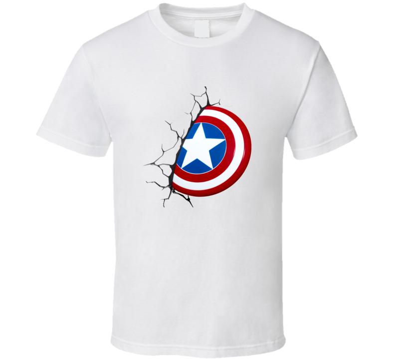 Captain America 3d Shield Tee Cool Halloween Costume Comic Lover T Shirt
