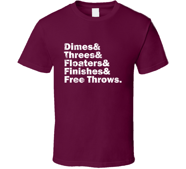 Dimes Threes Floaters Finishes Free Throws Tee Trae Young Oklahoma Basketball T Shirt