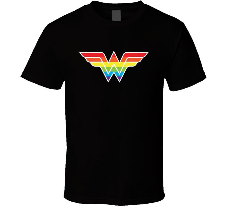 Wonder Woman Logo Tee Cool Gay Pride Colors LGBT T Shirt