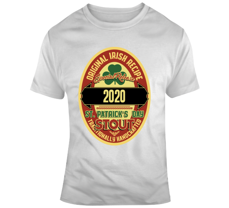 2020 St Patrick's Day Tee Cool Beer Label Drinking Party T Shirt