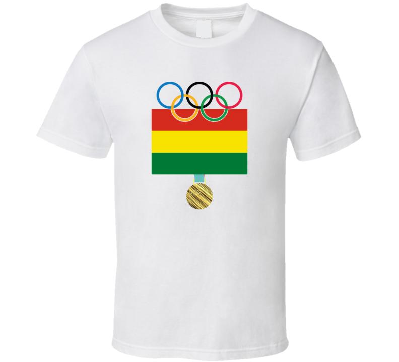 Bolivia Pyeongchang 2018 Winter Olympics Flag Gold Medal T Shirt