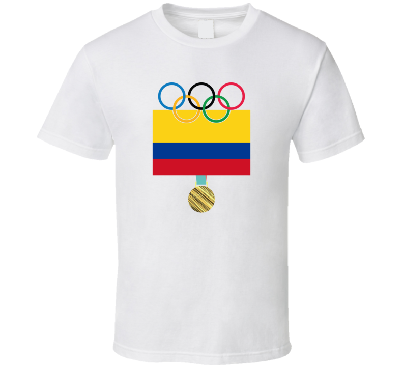 Colombia Pyeongchang 2018 Winter Olympics Flag Gold Medal T Shirt