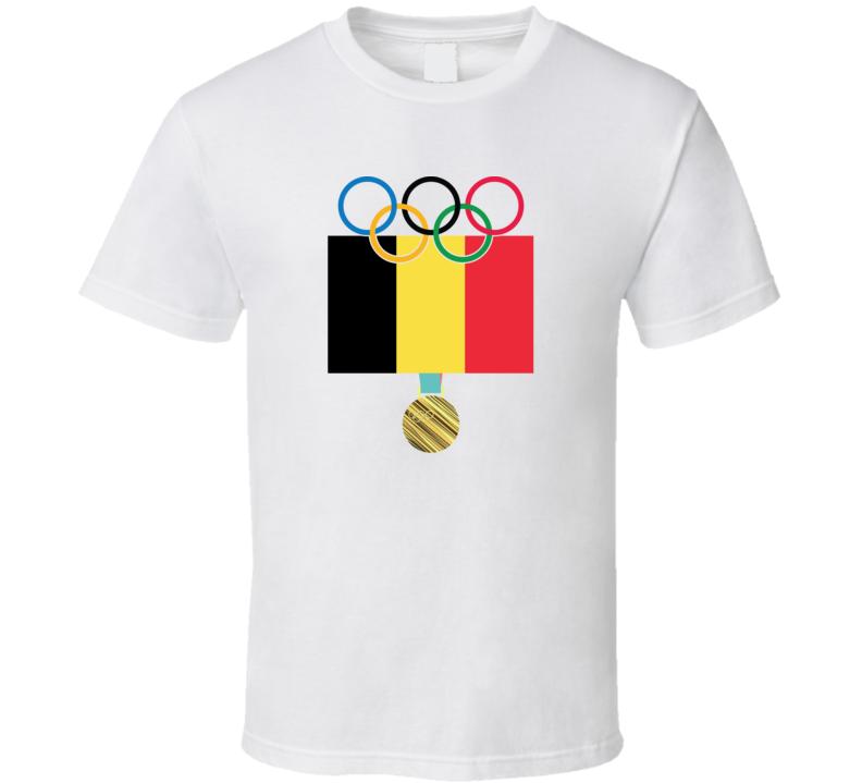 Belgium Pyeongchang 2018 Winter Olympics Flag Gold Medal T Shirt