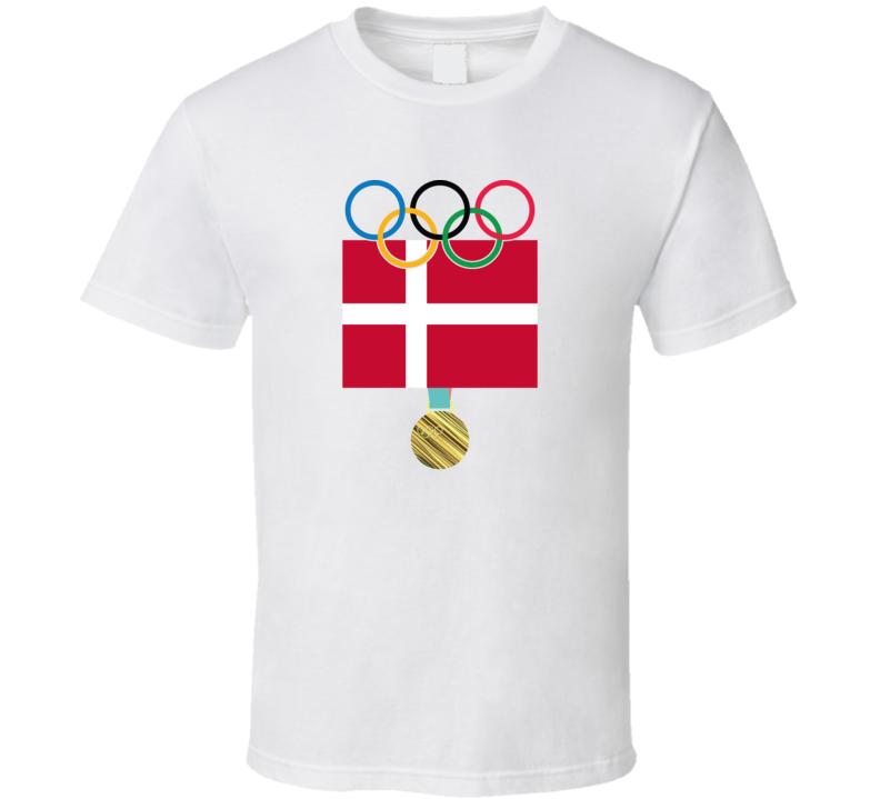 Denmark Pyeongchang 2018 Winter Olympics Flag Gold Medal T Shirt