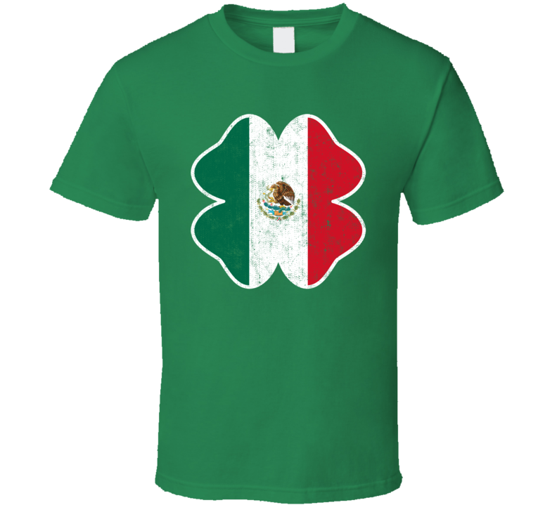 Irish Mexican Flag St Patrick's Day Drinking Worn Look T Shirt