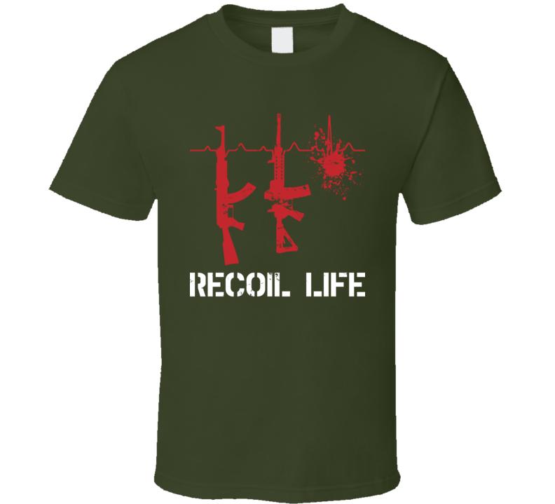 Recoil Life Assault Rifle Ekg Gun Owner Firearm Worn Look T Shirt