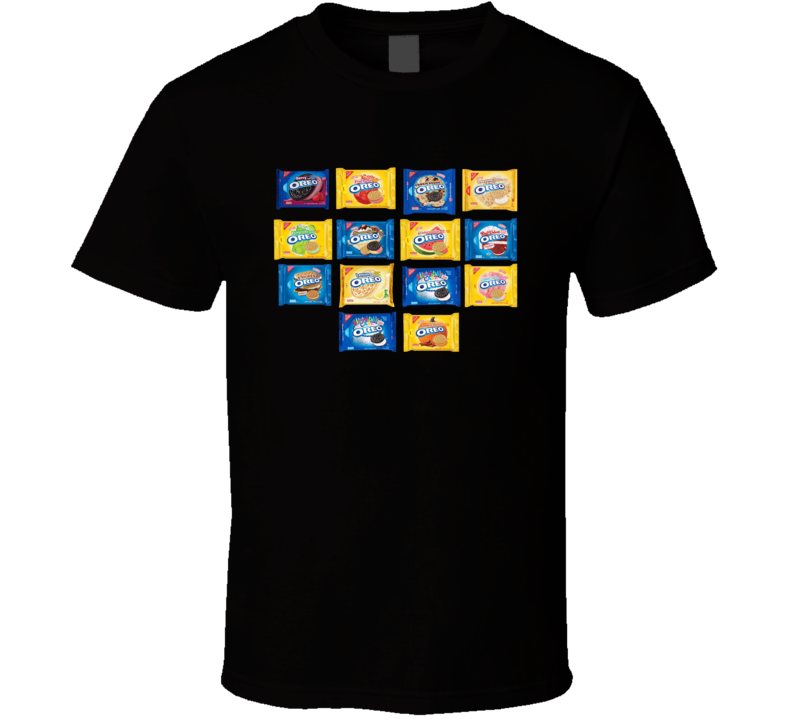 Every Different Flavor Of Oreo Cool Snack Cookie Food Lover T Shirt