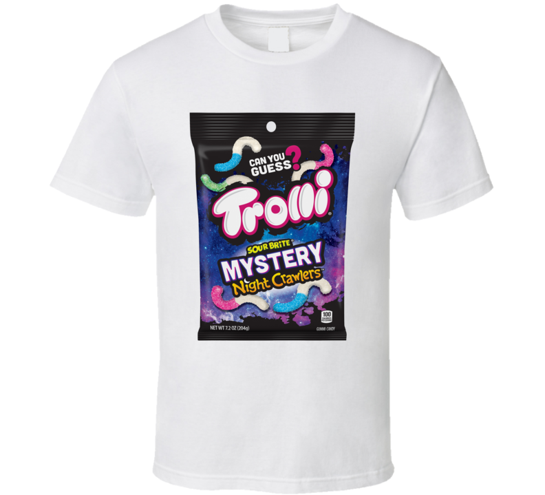 Trolli Sour Brite Mystery Night Crawlers Candy Gummies Gummy Worms Cool Snack Food T Shirt