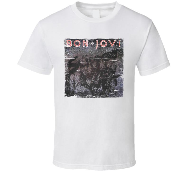 Bon Jovi Slippery When Wet Album Cover Distressed Image T Shirt