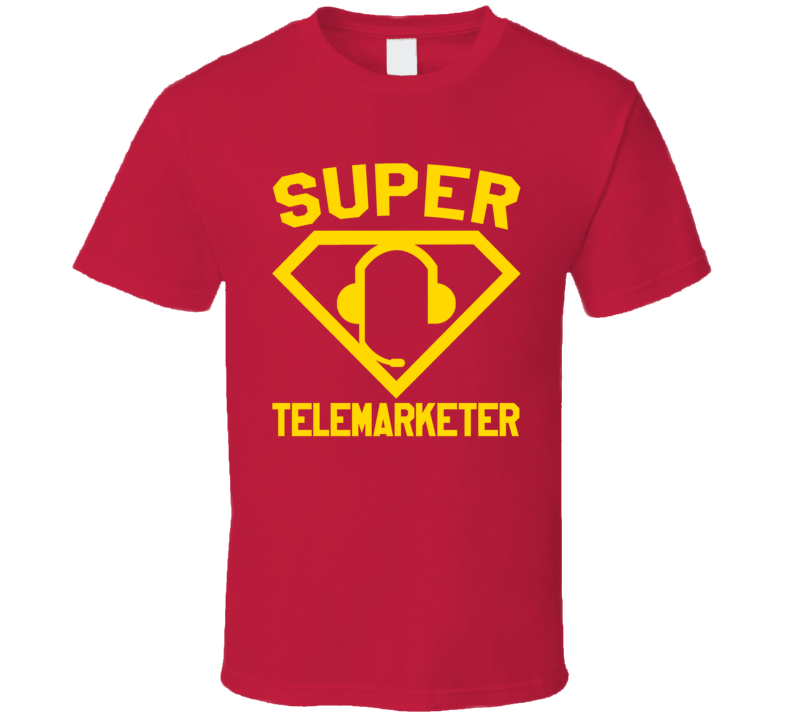 Super Telemarketer Job Occupation Logo Superhero Co-worker Gift T Shirt