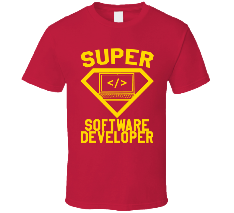 Super Software Developer Job Occupation Logo Superhero Co-worker Gift T Shirt