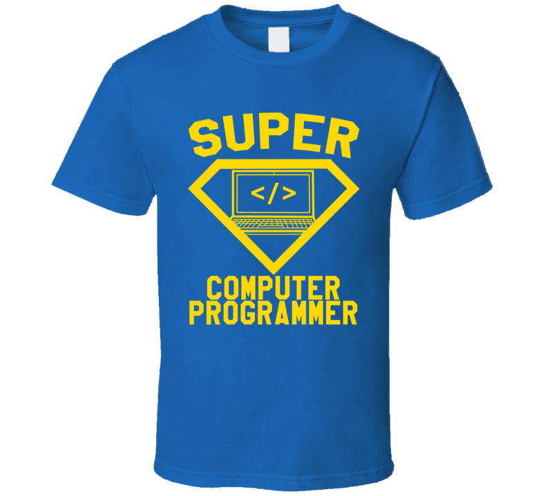 Super Computer Programmer Job Occupation Logo Superhero Co-worker Gift T Shirt
