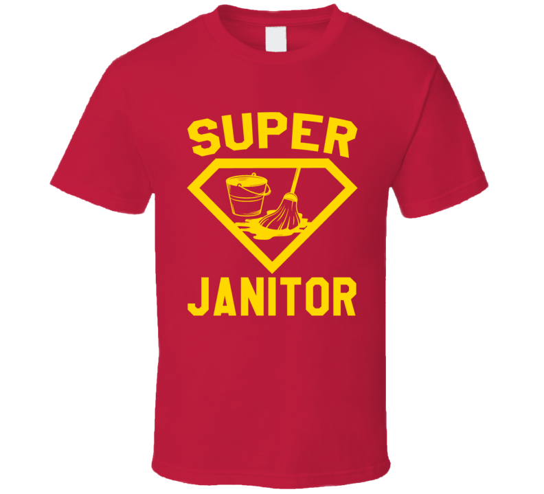 Super Janitor Job Occupation Logo Superhero Co-worker Gift T Shirt