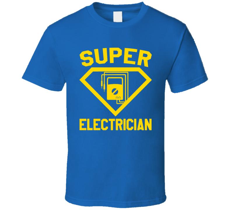 Super Electrician Job Occupation Logo Superhero Co-worker Gift T Shirt