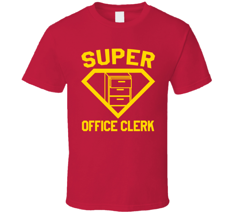 Super Office Clerk Job Occupation Logo Superhero Co-worker Gift T Shirt
