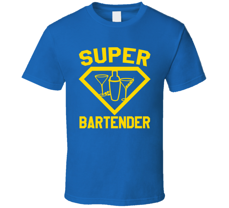Super Bartender Booze Beer Job Occupation Logo Superhero Co-worker Gift T Shirt