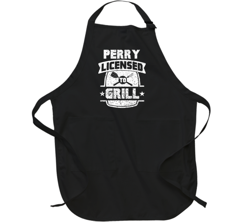 Perry Licensed To Grill Bbq Chef Custom Name Father's Day Apron