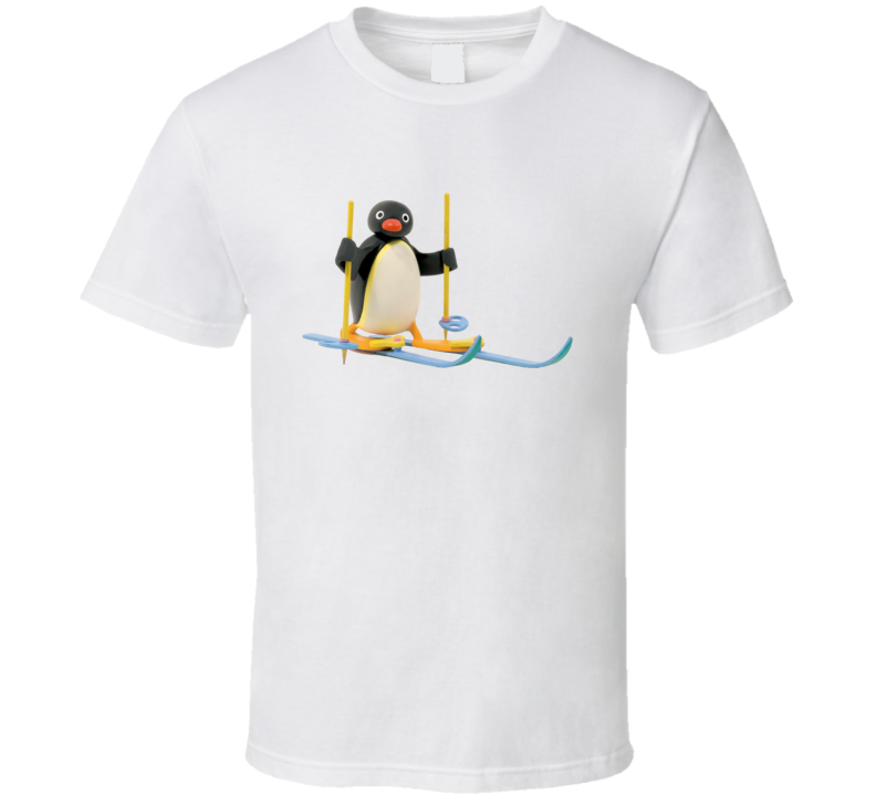 Pingu Skiing Vintage Look T Shirt