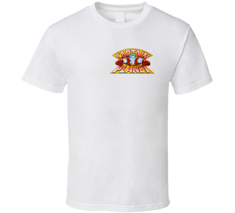 Captain Planet Chest Badge Classic Cartoon Fan T Shirt