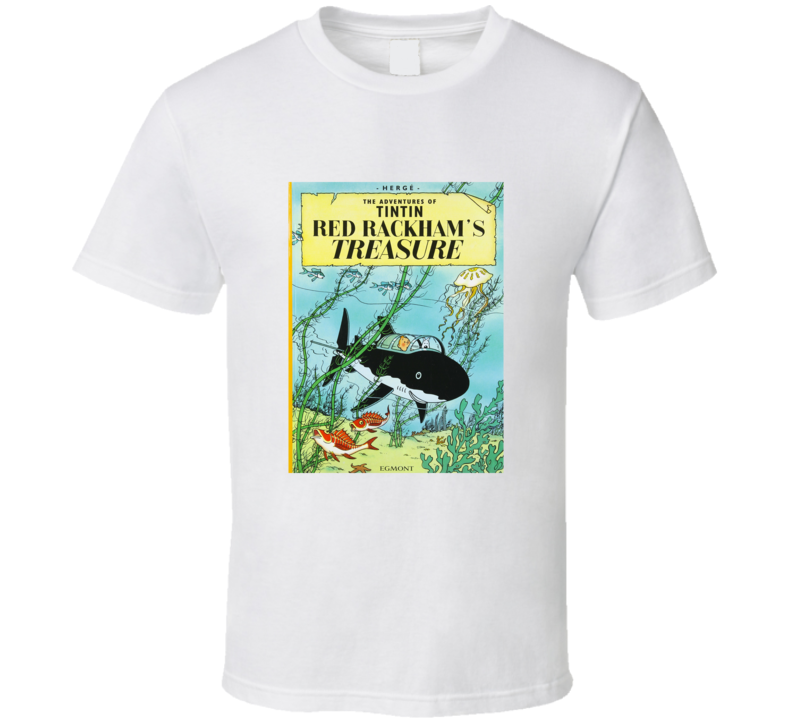 Classic Book Cover Tee Shirts ~ The adventures of tintin red rackham s treasure vintage