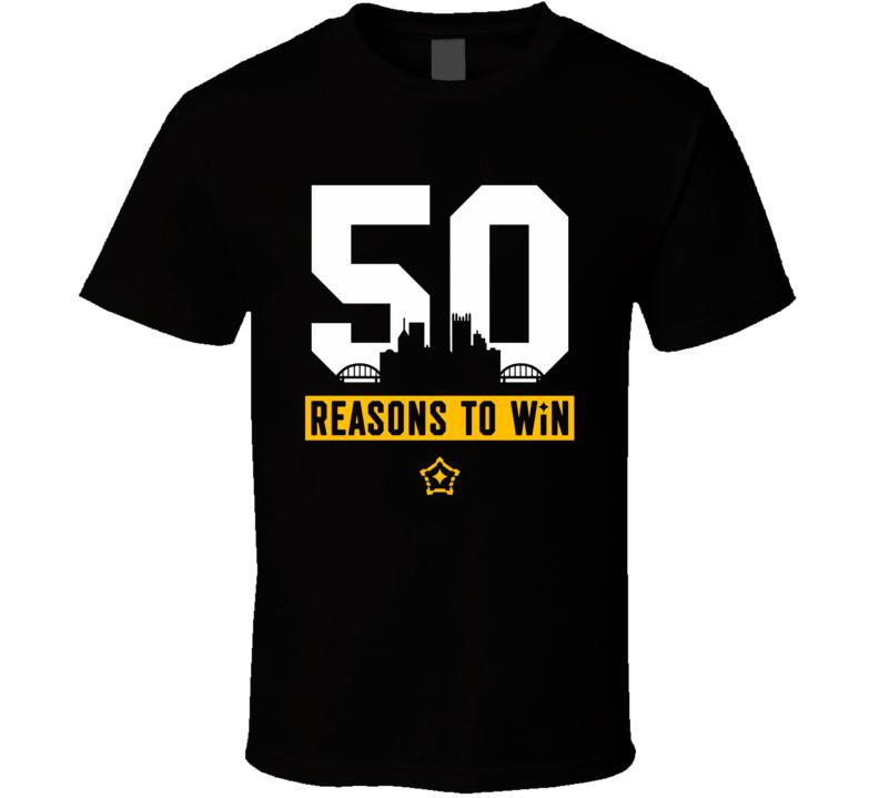 50 Reasons To Win Ryan Shazier Injury Tribute Pittsburgh Football Team Fan T Shirt