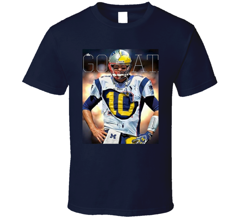 The Goat Tom Brady Patriots Michigan Cool Football Sports Fan T Shirt