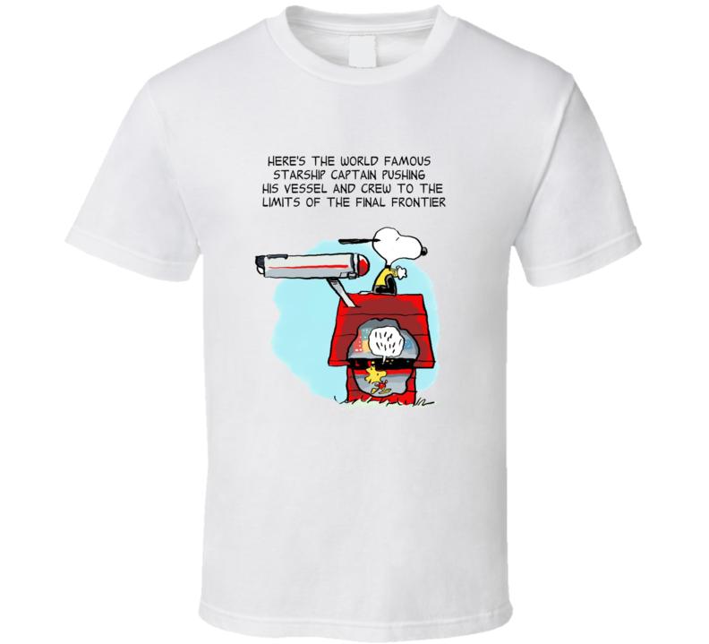 Snoopy Star Trek Starship Captain With Woodstock Crew T Shirt