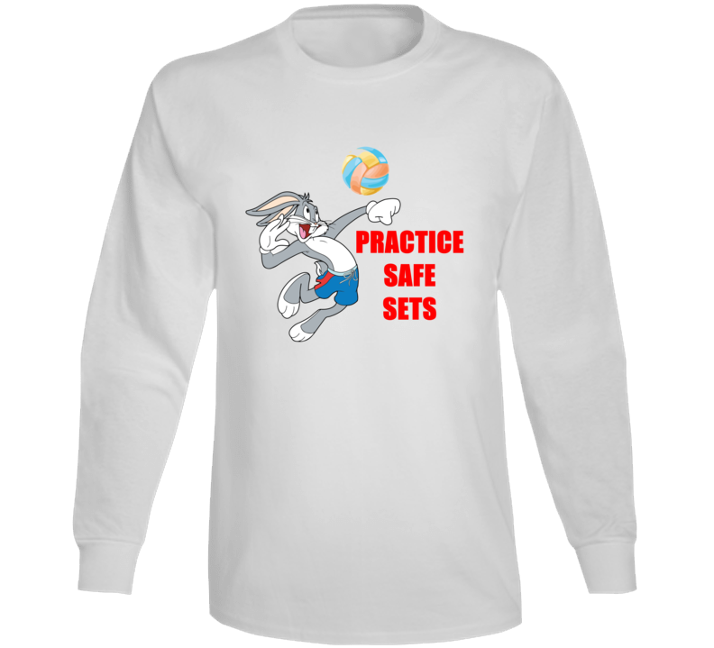 Practice Safe Sets Funny Volleyball With Bugs Bunny Long Sleeve