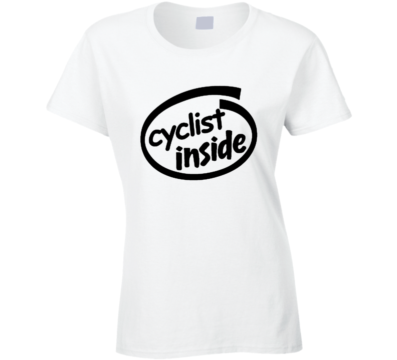 Cyclist Inside Funny Parody Logo Ladies T Shirt