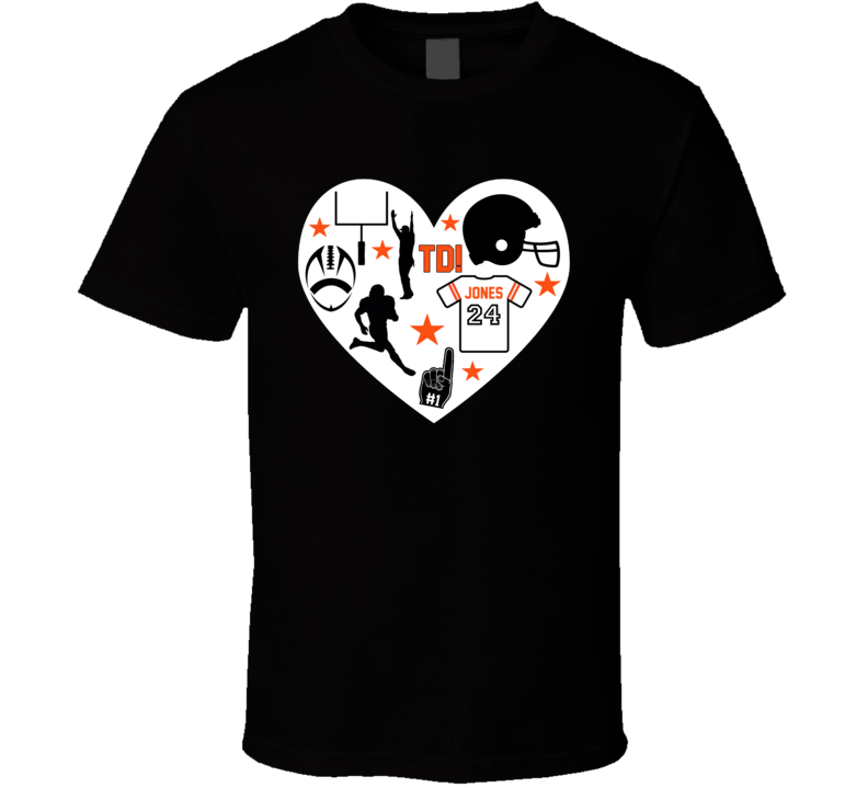 Heart Mashup Adam Jones Cincinnati Football Team Fan T Shirt